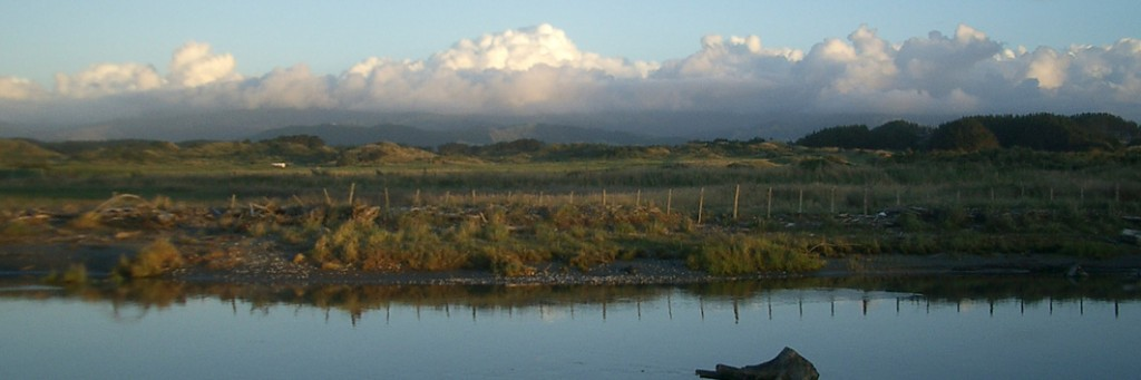 Waitohu Stream and the Tararuas, from Otaki Beach