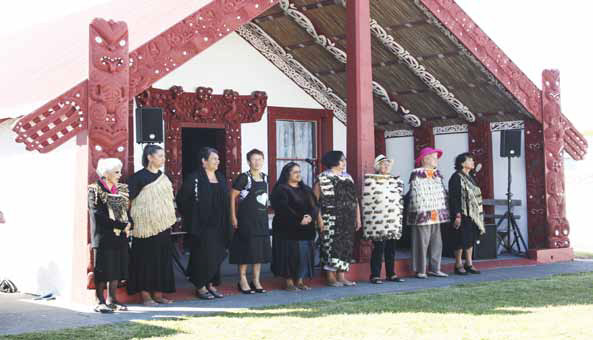 Kuia call - karanga, to the visitors coming onto Raukawa Marae on Waitangi Day