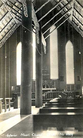This photo of the interior of Rangiatea was probably taken in the early 1920s, so would have looked like this at the time of the ordination.