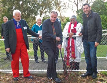 Valdis Plato, Ross Church, Hira Royal and James Cootes plant a ceremonial tree Valdis Plato, Ross Church, Hira Royal and James Cootes plant a ceremonial tree