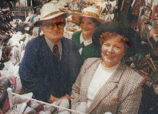 Don and Pat Edhouse with Joan Hazelwood (rear) model the latest Edhouse hats