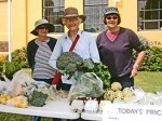 Lyndsay, Belinda, Rosli and broccoli on the Seasonal Surplus Stall