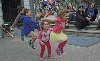 All in together – we almost made it! Otaki Kindergarten children, Jamieson Hyde, Chase Reid, Charlotte Jansen and Mayzi Fisher, all four years, add to the 3503 jumps during the jump Rope for Heart fund raiser at the kindergarten
