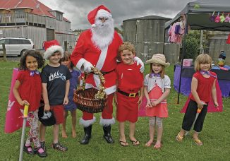 Best Friends! Father Christmas and his friends at the Te Horo Christmas Market