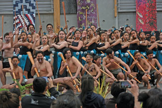 With taiaha at the ready it was into song and action from the Te Kura –a-iwi O Whakatupuranga Rua Mano kapahaka group