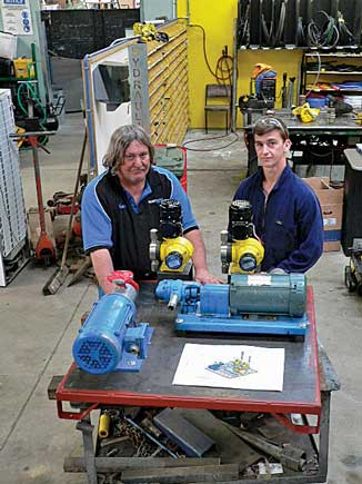Fuel Oil Emulsion Blended Unit being constructed at Riverbank Engineering. Head Engineer Kevin Keoghan and Ōtaki College Engineering Student Ayden Mcleavey