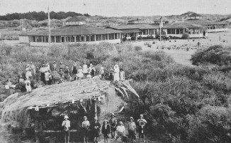 The two rotundas at the Otaki Children's Health Camp in 1932, when it had just opened.  The rotundas had been moved from Rotorua where they were built in 1916 as dormitories for the King George V Military Hospital for convalescent patients during the First World War.  One rotunda still remains and is registered as a heritage building.