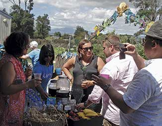 Hemaima Wiremu & Sharlene Maoate-Davis , local practioners from ONE Whare Rongoā  join French guests Prof Gilles-Eri Seralini and Chef Jerome Douzeletc in sampling holistic 'medicines for the people