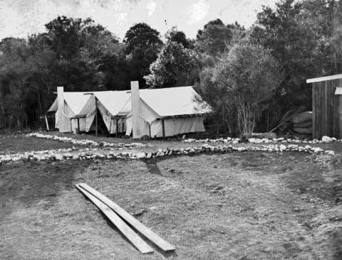 One of the government's relief schemes was clearing land in Te Horo of the stones known as 'Hautere turnips'. The workers were housed in tents. The stones were used for fences, many of which can still be seen in the area.
