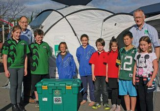Rotarian Warren Irving and Derek Chisholm Shelter Box facilitator. Front: Emily Georgetti and Keegan Ryan from Manakau, Stormy Hanson and Bailey Cowan Otaki School, Shea Lenaghan and Tiaria McGhie from Te Horo and Waitohu's Kyren Paitiawa and Skye Heenan.