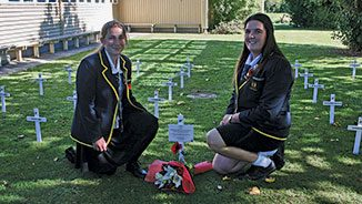 30 white crosses of New Zealanders killed during World War I.