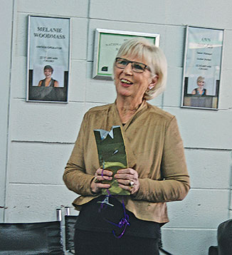 Lesley Smith at her farewell at Chairs Hair Design, she has been at Chairs for the last eight years of a 52 year career