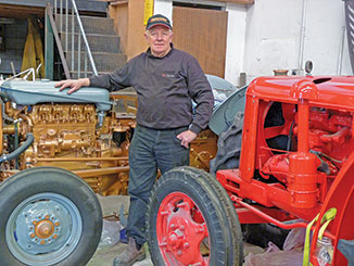 "Rod with 1953 David Brown crop-master and 1957 FE 35 Ferguson ""Gold Belly"""