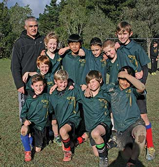 Waitohu eventually won 1–0 The champions, Waitohu 1 after winning the grand final of the interschool soccer tournament 3–1 over Te Horo's 1 team. Coach, Oz Pidduck stands with his team
