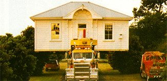 The court house on the move in 1998 to its current site on SH1