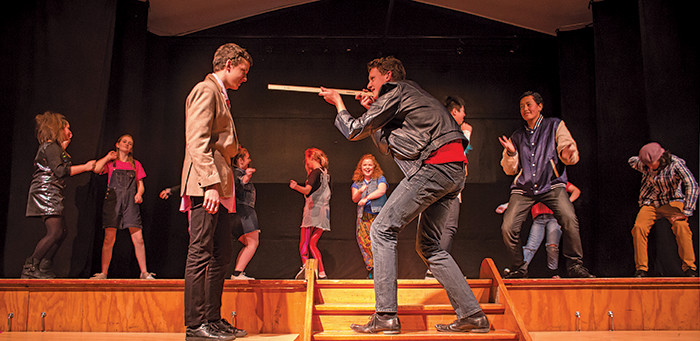 Cameron Lafrenz challenges Michael McInerney-Heather during a scene from String of Dreams, during Ōtaki College's dance and drama evening by the performing arts students.