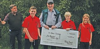 Representatives of the Te Horo School Garden Club, Charlie Simpson, Matthew Bird and Nikita Allen. (Click for full size)
