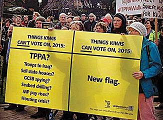 Thousands of protesters demonstrated their objection to the TPPA in August. Here they send a message about the lack of public consultation regarding the treaty negotiations. Image courtesy Action station www.actionstation.org.nz