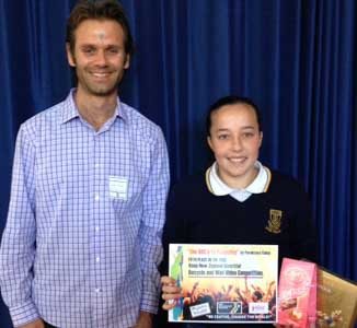 Recycling award: James Micael with Parekawa Finlay
