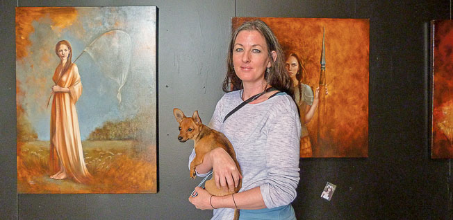 Manakau-based artist, Soraya Bradley, describes her painting style as romantic realist, but there is an also an element of dark sensuality combined with dreamy spirituality. She specialises in figure painting, predominately female, using rich colours in a classical form.  Soraya says her paintings reflect three main concerns: the historical associations of oil painting, the contemporary possibilities of the medium, and love of figurative art.