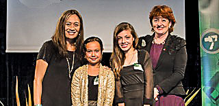 Winning  lmmakers Oriwa Hakaraia and Kaea Hakaraia-Hosking with Hon Maggie Barry and Lanita Ririnui-Ryan