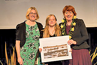 Sarah Murray and Hon Maggy Barry with a proud Eva Hakaraia