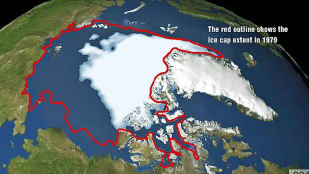 A visualization from NASA's Jet Propulsion Laboratory shows the annual Arctic sea ice minimum from 1979 to 2012. The red outline shows the 1979 coverage of this perennial ice, which has been steadily decreasing ever since. (NASA/Goddard Scientific Visualization Studio)