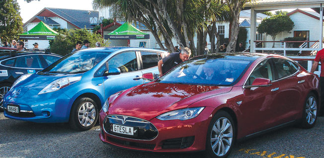 A $20,000 Nissan Leaf and a $200,000 Tesla at TWOR