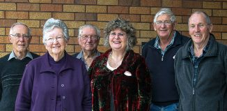 Some of Cobweb's earliest committee members, following their 20th anniversary morning tea at the Presbyterian Hall. From left: Ian Ballantyne, Ruth Shaw, Reg Taylor, Annie Bythell, Brian Denton and Michael McManus